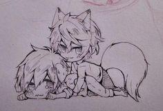Dog and fox ... From lesfrites ... Free! - Iwatobi Swim Club, free!, iwatobi, kisumi shigino, shigino, kisumi, makoto tachibana, makoto, tachibana