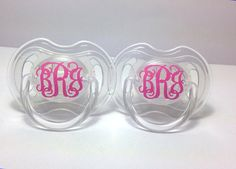 This listing is for two Avent pacifiers personalized with monogram decals. • Available in both 0-6 months and 6-18 months. (You can make this