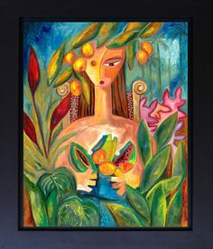 Woman's Figure Painting Foliage Flowers Fruit Bowl Canvas Print Art Tropical Landscape Contemporary Art Decorative Mother's Day Gifts by SierraFineArt on Etsy