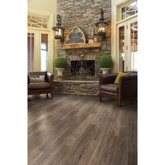Style Selections 5 43 In W X 47 72 Ft L Spalted Woodbark Plank Laminate Flooring Item 791596