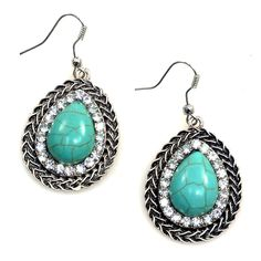 The tear drop shape of these turquoise earrings makes this a great go-to pair of earrings to dress up your ears.  The turquoise stone adds a nice pop of color!
