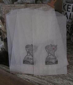 french market corset glassine sacks set of 7 by OkioBDesigns, $5.00