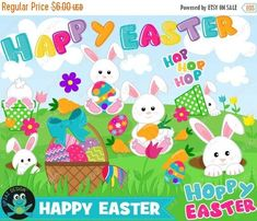 75% OFF SALE Easter Bunny Clipart, Instant Download, Commercial Use - UZ880