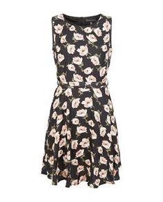 Mela Black Floral Print Belted Dress | New Look