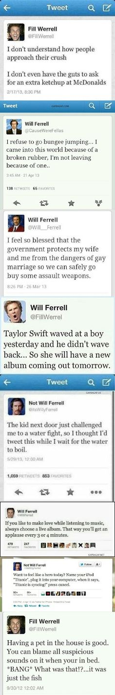 "Top 8 Hilarious Tweets By ""Will Ferrell""....these are actually Will Ferrell parody accounts!"