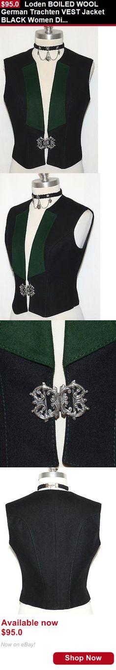 Women vintage reproductions: Loden Boiled Wool German Trachten Vest Jacket Black Women Dirndl Skirt Dress 6 S BUY IT NOW ONLY: $95.0