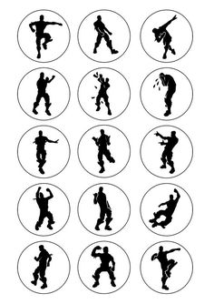 FORTNITE SILHOUETTES 2 Cupcake toppers or buttons Printable | Etsy