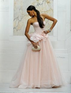 Blush strapless ball gown | White by Vera Wang for Davids Bridal