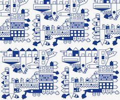"""Fabric """"city"""" blue"""