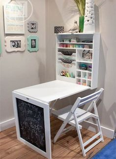Down Craft Table / Child's desk. Space saver for big kid / teen room. Extra storage within built-in cabbie for art suppliesFold Down Craft Table / Child's desk. Space saver for big kid / teen room. Extra storage within built-in cabbie for art supplies Diy Home Decor, Room Decor, Diy Casa, Craft Storage, Extra Storage, Storage Shelves, Office Storage, Storage Room, Wall Shelves