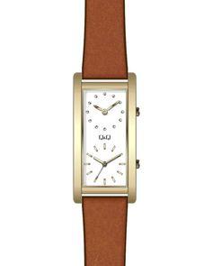 Ρολόι Q&Q Ladies Brown Leather Strap - QB61J111Y - OROLOI.gr Square Watch, Brown Leather, Watches, Lady, Accessories, Wristwatches, Clocks, Tan Leather, Brown Skin
