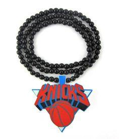 Wooden Bead Necklace: N.Y. Knicks