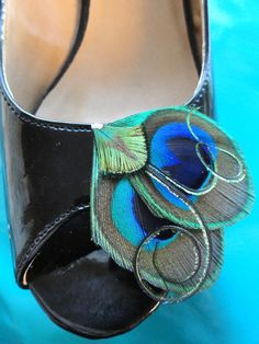 ANDI Peacock Feather Shoe Clips Wedding by Lucyohlucy on Etsy e256508135541