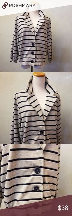 American Apparel striped sweater jacket in perfect condition like new gray and black stipped sweater jacket American Apparel Jackets & Coats Blazers