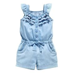 Denim Overall ShortsOWIKAR Baby Girls Rompers Lace Denim Vest Shorts Boat Neck Summer Dress For Age brand new and high quality. Material: cotton Seasons: Summer Suitable ages: years old girls Dress type: baby girls rompersKids Baby Girls Clothing Rom Baby Girl Romper, Baby Girl Dresses, Baby Outfits, Baby Dress, Kids Outfits, Baby Girl Fashion, Kids Fashion, Toddler Fashion, Fashion Fashion