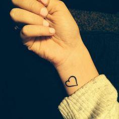 Small Heart Tattoo On Right Wrist Heart Tattoo Images, Simple Heart Tattoos, Girl Tattoos, Tatoos, Tattoo Addiction, Tattoo Outline, Small Heart, Get A Tattoo, Tatting