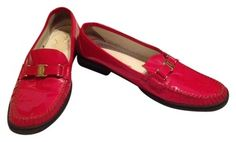 Size 10 Salvatore Ferragamo Loafers - Flats - Driving Moccasins - Red Patent Leather.  $290 new, just $65 when you shop my gently worn Tradesy closet!