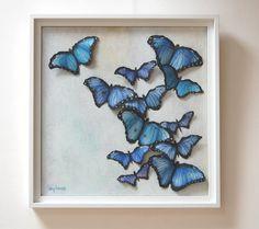 Schmetterlinge 3D Painting - blaue Schmetterlinge Original Wall-Art-Papier geformte Schmetterlinge