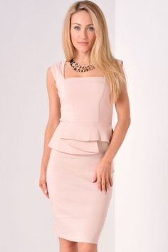 Olivia Structured Peplum Midi Dress in Nude