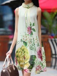 Appealing  Chiffon Peony-printed Shift-dress Shift Dresses from fashionmia.com