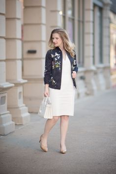Petite Fashion and Style Blog | Ted Baker Entangled Enchantment Embroidered Bomber Jacket | French Connection Lolo Stretch Sheath Dress | YSL Baby Sac do Jour | Click to Read More...