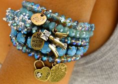 Reserved for pisces8472  - 5 strand stretch Crystal Stretch Bracelet with love, lock, bird charms - Turquoise, Blue