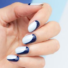 Blue 'Sideways' French manicure  || Click though for how-to