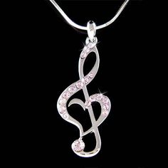 Purple Swarovski Crystal TREBLE G CLEF Love Music Musical Note Heart Pendant Necklace. $45.00, via Etsy.