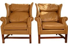 Leather Wing Back Chairs, Pair