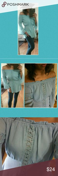 🔥SALE🔥OFF SHOULDER LIGHT BLUE TOP S M L This top is a total breeze! So cute and chic with its crochet details running down the middle and on the sleeves. Flowy open bell sleeves. Beautifully made. Nice light blue color! Available in sizes Small Medium or Large.  Brand new without tags.    🌻 TOP Rated Ebay seller. Check out my feedback!   Tops Blouses