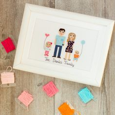 2 Adults And 2 Kids. Custom Cross Stitch Family Portrait, Custom Portrait, Pregnancy Announcement, Anniversary Gift, Christmas gif