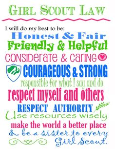 Colorful poster of the Girl Scout law.