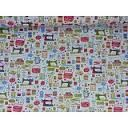 Sewing printed fabric sold on the roll @Decoporium