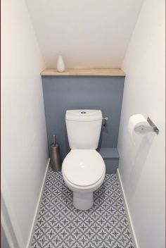 Space Saving Toilet Design for Small Bathroom - Home to Z Small Toilet Decor, Small Downstairs Toilet, Small Toilet Room, Downstairs Cloakroom, Basement Toilet, Guest Toilet, Bathroom Interior, Modern Bathroom, Bathroom Small