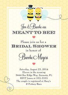 Bumblebee Bride & Groom Meant to Bee Bridal by PartyPopInvites, $17.00