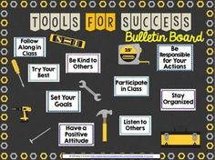 """What You GetThis is a bulletin board set that allows you to showcase the """"Tools for Success"""" necessary for your classroom. It's a great back to school bulletin board because it can focus on positive habits and critical classroom expectations. Two different colored titles are included so that you can choose which fits your board best."""