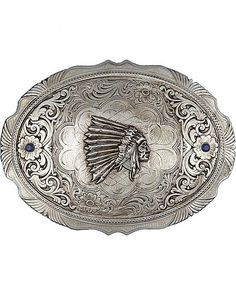 Montana Silversmiths Indian Head w/ Faux Sapphires Buckle