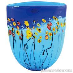 Hand blown Blue Art Glass Vase