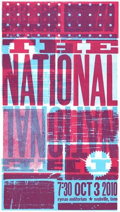 Letterpress poster for The National by Nashville's http://hatchshowprint.com via @thinkstudionyc