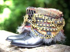 gilded reworked cowboy boots from TheLookFactory on Etsy