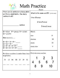 math worksheet : everyday math  second grade unit 2 reviewteacher can use this  : Maths Practise Worksheets