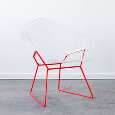 Iconic Chairs Refinished -   Knoll Bertoia Diamond // White + Red