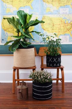 DIY: Chalk Board Planter Baskets