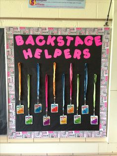 "Here's my Rockstar Classroom Jobs board ""Backstage Helpers""  Jobs include: Stage Crew 1, 2, 3, and 4 (one for each table group), Fan Mail Carrier, Instrument Tuner (pencil sharpener), Band Manager (line leader), Tour Coordinator (calendar), Sound Engineer (picks the Sound Check song each morning), and Roadie (teacher assistant). Kids wear the backstage passes in the classroom each day."