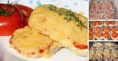 Pečené vepřové řízky se sýrem, smetanou a rajčaty