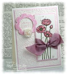 Stampin Up Pleasant Poppies stamp set, card by Sandi MacIver Homemade Greeting Cards, Greeting Cards Handmade, Homemade Cards, Friend Cards, Cards For Friends, Butterfly Cards, Flower Cards, Daydream Medallions, Poppy Cards