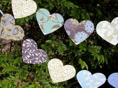 Paper Hearts Party Decoration Banner / Garland  / Bunting - Eggplant blue green cream #gardenPartyDecoration banner streamer pennant bunting birthday party anniversary shower garden decor party decoration wall hanging celedon green floral baby decor first birthday garland 15.00 USD SeclusionCove