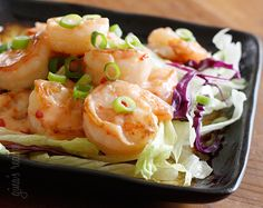 Bangin Good Shrimp |                                                                         Ingredients:     5 tbsp light mayonnaise 3 tbsp Thai Sweet Chili Sauce 1 tsp Sriracha (to taste)  For the Shrimp: 1 lb large shrimp, shelled and deveined (weight after peeled) 2 tsp cornstarch 1 tsp canola oil 3 cups shredded iceberg lettuce 1 cup shredded purple cabbage 4 tbsp scallions, chopped
