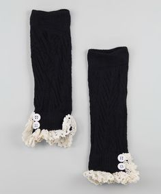 Loving this Black Lace Ruffle Leg Warmers on #zulily! #zulilyfinds