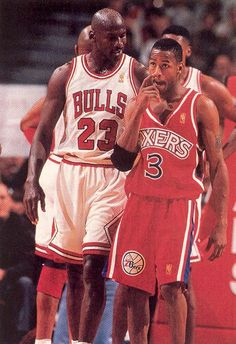 #NBA Jordan advising a young Iverson
